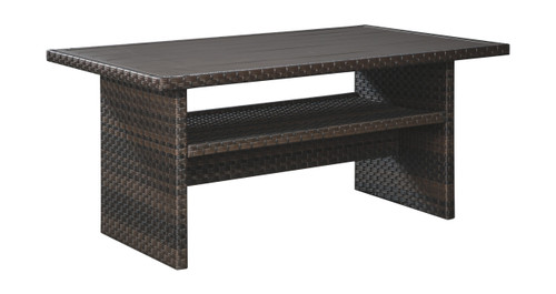 Easy Isle Dark Brown/Beige Rectangular Multi-Use Table