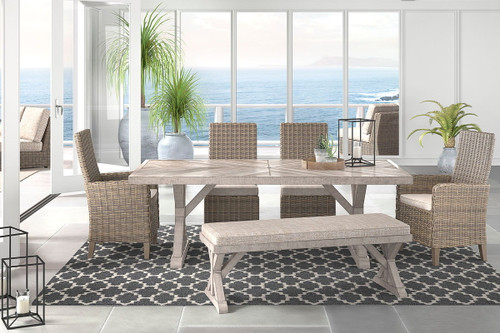 Beachcroft Beige Dining Set with Bench & Chairs