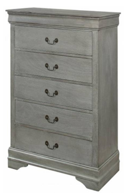 Louis Phillipe - 5 Drawer Chest - Gray