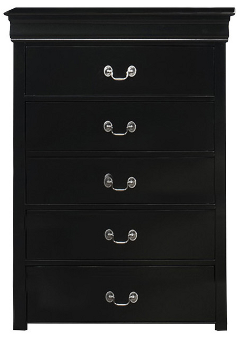 Louis Phillipe - 5 Drawer Chest - Black