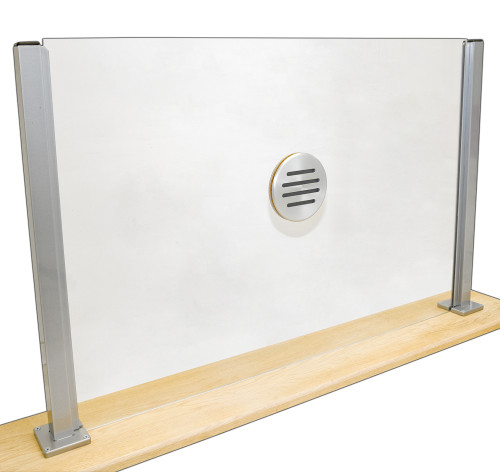"Partition plexiglass dividers for counters with speak thru & 2 24"" partition post."