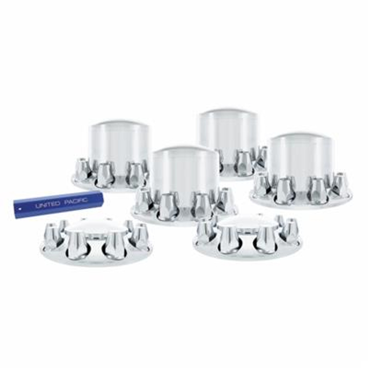 33mm Chrome dome axle kit w/standard nut covers - Thread on