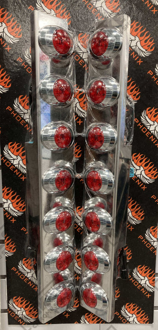 """15"""" 379 Rear AC breather Panel w/7 P3 lights - Red with Red Lens"""