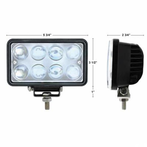 8 LED rect Work lt w/proj lens