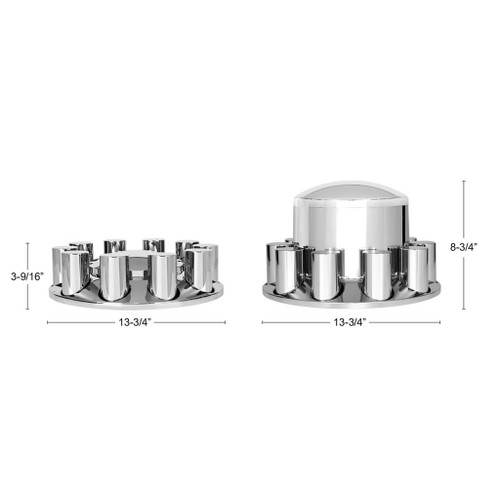 33mm Chrome dome axle kit w/cylinder nut covers - Thread on