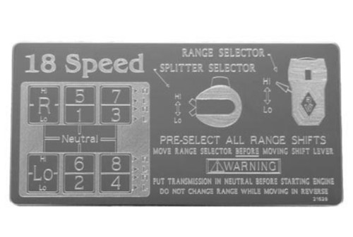 Stainless Steel Overdrive Shift Pattern Plate
