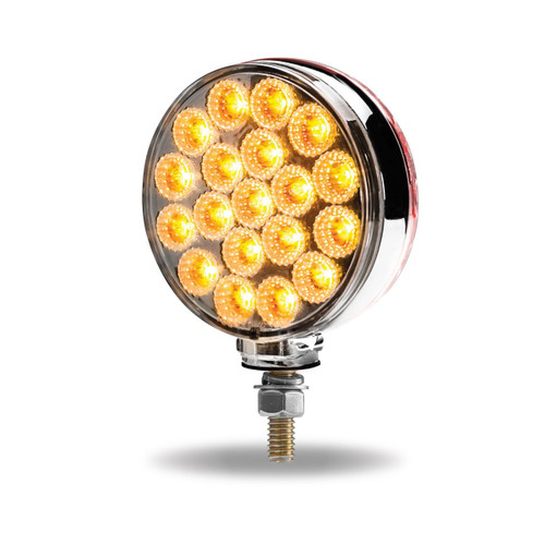 38 LED Double Face Dual Color Amber/Red Turn Signal & Marker LED Pedestal Light with Chrome Reflector