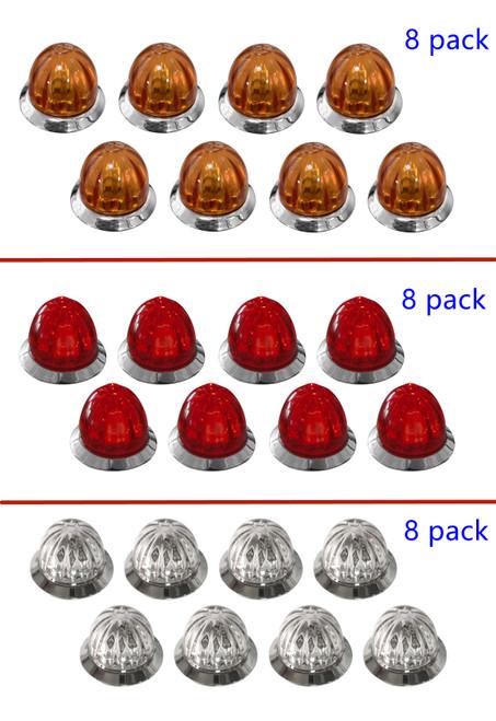 """3/4"""" Mini Watermelon LED Marker Light - 8 Pack"""