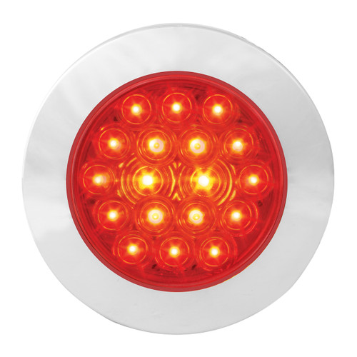 """18 LED  4"""" Round Red Fleet Stop, Turn & Tail Light with or without Chrome Bezel"""