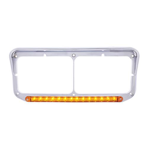14 LED Rectangular Dual Headlight Bezel with Visor - Amber LED