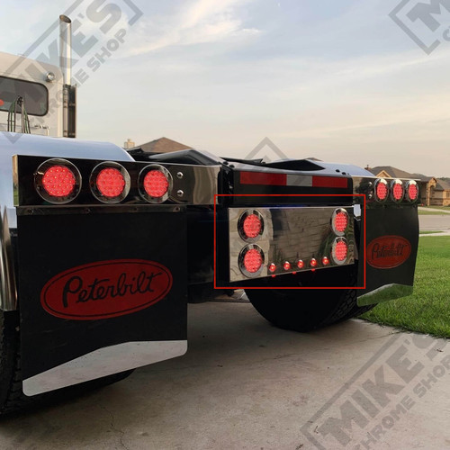 """Stainless Rear Center Panel w/4"""" & 1"""" Red LED Lights and built-in under glow light effect"""
