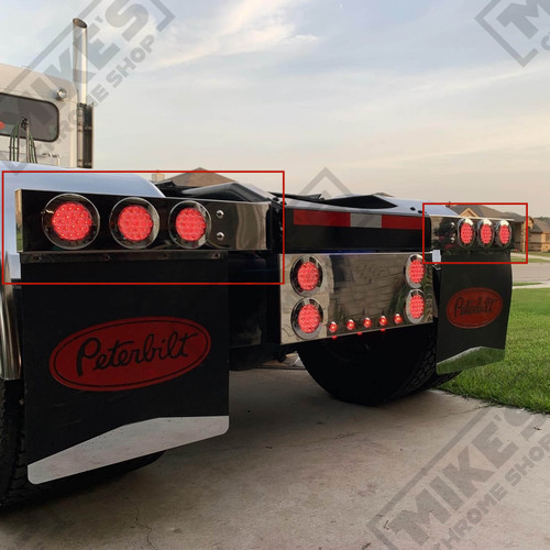 """2.5"""" Bolt Spacing Mud flap Hanger w/6*4"""" Red Fleet LED lights, twist lock Bezels and Wires - Pair"""