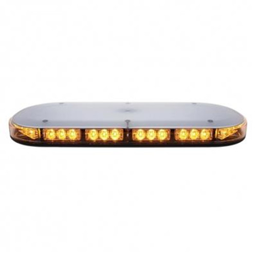 Magnetic or Permanent Mount 42 High Power LED Micro Warning Light Bar Amber with Clear Lens