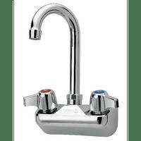 """Krowne 10-400L - Commercial Series 4"""" Center Wall Mount Faucet, 3-1/2"""" Gooseneck Spout, Low Lead"""