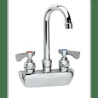 """Krowne 14-402L - Royal Series 4"""" Center Wall Mount Faucet, 8-1/2"""" Gooseneck Spout, Low Lead"""