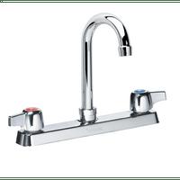 """Krowne 13-801L - Commercial Series 8"""" Center Deck Mount Faucet, 6"""" Gooseneck Spout, Low Lead"""