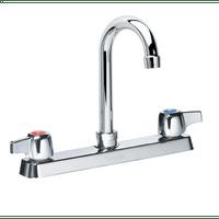 """Krowne 13-802L - Commercial Series 8"""" Center Deck Mount Faucet, 8-1/2"""" Gooseneck Spout, Low Lead"""