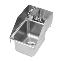 "Krowne Hs-1220 - 12"" X 18"" Drop-In Hand Sink With Side Splashes Low Lead Compliant"