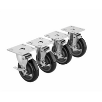 "Krowne 28-111S - 3-1/2"" x 3-1/2"" Universal Plate Caster, 5"" Wheel, Set of 4"