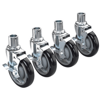 "Krowne 28-151S - Universal Wire Shelving Caster, 5"" Wheel, Set of 4"