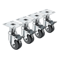 "Krowne 28-114S - 6""-7"" Adjustable Height 3-1/2"" x 3-1/2"" Plate Caster, 3"" Wheel, Set of 4"