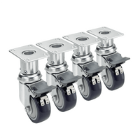 "Krowne 28-160S - 6""-7"" Adjustable Height 2-3/8"" x 3-5/8"" Plate Caster, 3"" Wheel, Set of 4"
