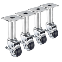 "Krowne 28-117S - 8-1/2""-10-1/2"" Adjustable Height 3-1/2"" x 3-1/2"" Plate Caster, 3"" Wheel, Set of 4"