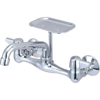 Central Brass 0048-Ta Two Handle Wallmount Kitchen Faucet W/ Soap Dish, Chrome