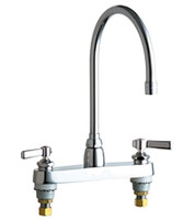 """Chicago Faucets 1100-GN8AE3-369AB Deck-Mounted Manual Sink Faucet with 8"""" Centers"""