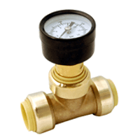 "Probite Lf936p 1"" Pressure Gauge Tee - ""push Connect"""
