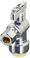 """Probite Lf954t 1/2"""" X 1/2"""" X 3/8"""" Od Comp 3-Way Chrome Plated 1/4"""" Turn """"push Connect"""" Stop Valve"""