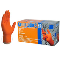 Gloveworks Large HD Orange Nitrile Latex Free Disposable Gloves 8 Mil (100 count)