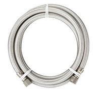 "Matco-Norca SSIM-60LF Braided Stainless Steel Ice Maker Connector 1/4"" OD Compression 60"" Long."