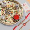 Beauteous Two Rakhi Set with Puja Thali - For Australia