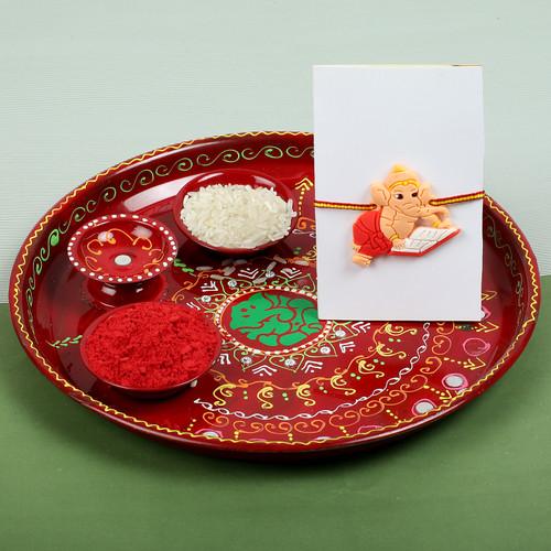 Ganesha Rakhi for kids with Pooja Thali - For USA