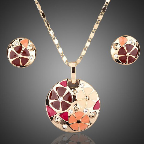 18K Real Gold Plated Multicolour Flower Design Stud Earrings and Pendant Necklace Jewelry Sets