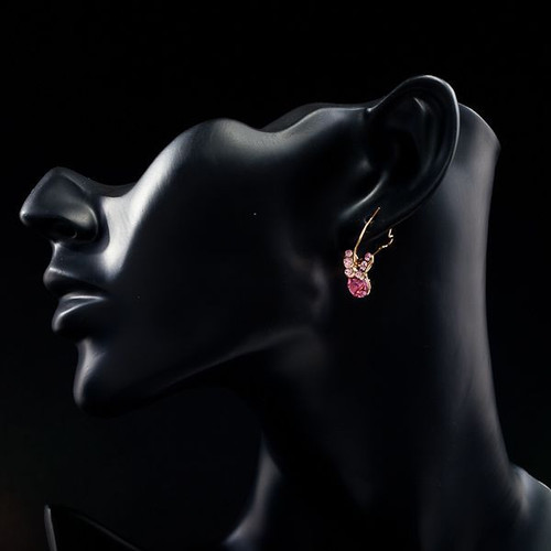 18K Real Gold Plated Pink SWA ELEMENTS Austrian Crystal Butterfly Drop Earring