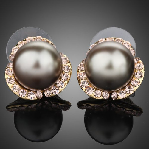 18K Real Gold Plated SWA ELEMENTS Austrian Crystal Lovely Gray Bead Stud Earring