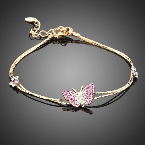 18K Real Gold Plated SWA ELEMENTS Austrian Crystal Butterfly and Flower Charm Bracelet