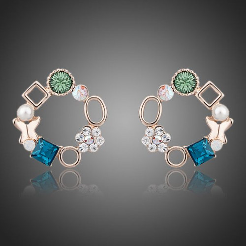 Unique Design 18K Rose Gold Plated Multicolour SWA ELEMENTS Austrian Crystal Round Stud Earrings