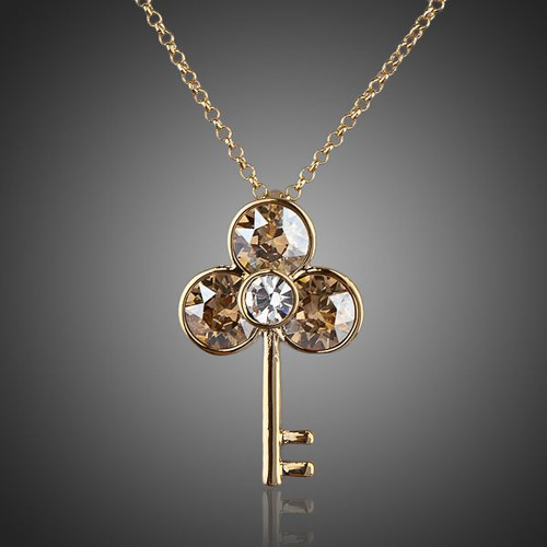 Ancient Keys 18K Real Gold Plated SWA ELEMENTS Austrian Crystal Water Drop Pendant Necklace