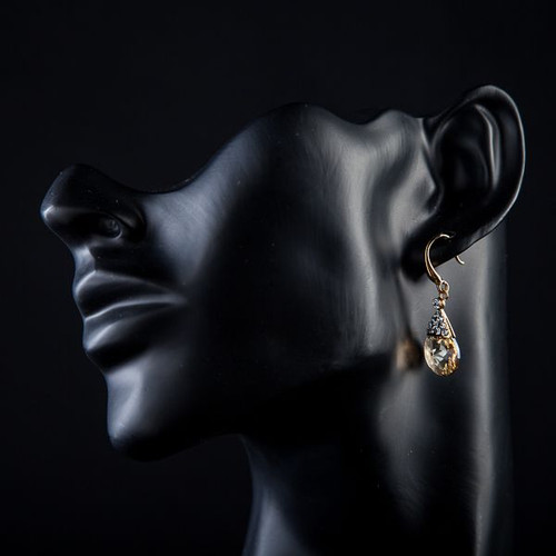 18K Real Gold Plated Gold Round SWA ELEMENTS Austrian Crystal Drop Earrings