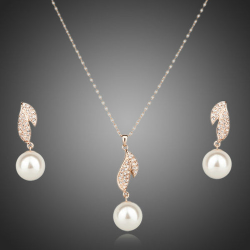 18K Rose Gold Plated SWA ELEMENTS Austrian Crystal Imitation Pearl Earrings and Necklace Set