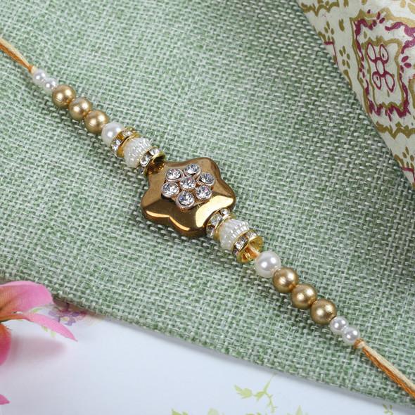 Golden Diamond Zardosi Rakhi - For Europe