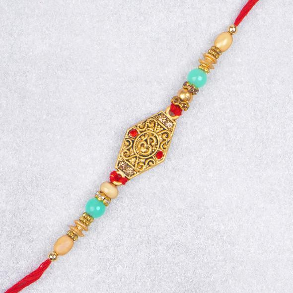Amazing Aum Metallic Beads Rakhi - For UK