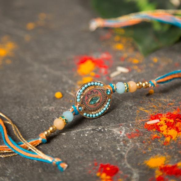 Premium Embellish Beads Rakhi - For UK
