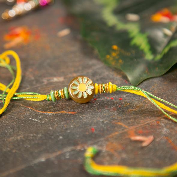 Premium Yellow Floral Design Rakhi - For UK