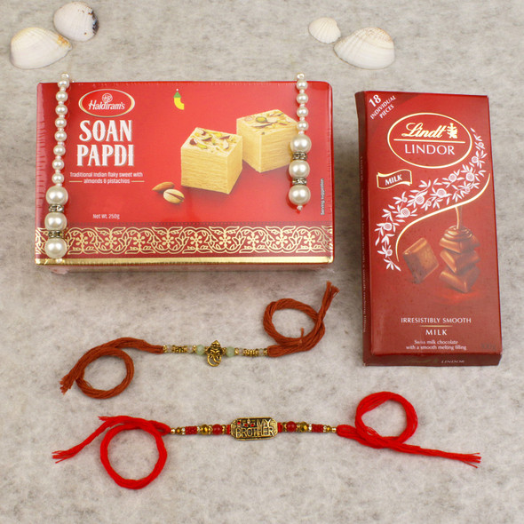 My Brother Rakhis With Lindt Sweet Hamper - For UK