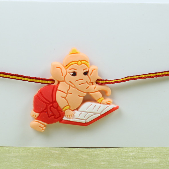 Ganesha Kids Rakhi with Kaju Katli Sweet - For UK