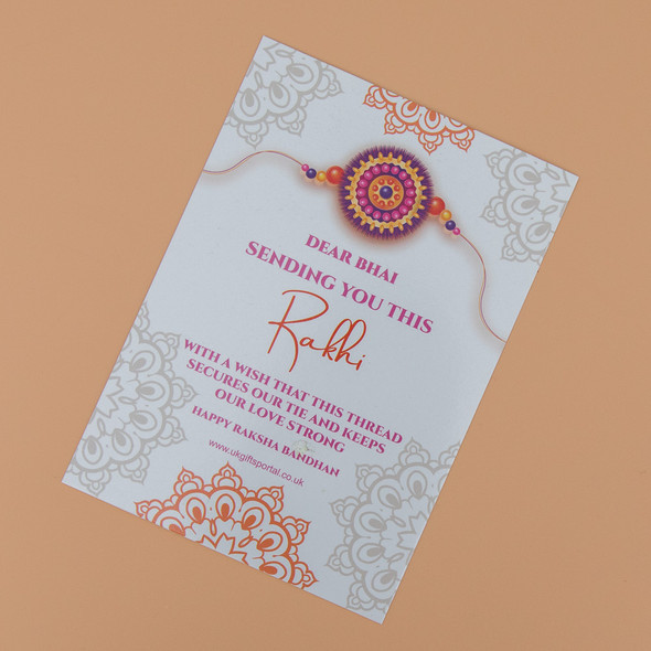 Majestic Rakhi Set with Kaju Katli & Puja Thali Hamper - For UK